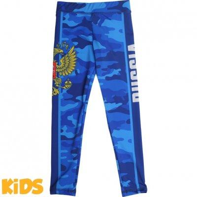 Детские компрессионные штаны Alfa Brend Camo - Blue