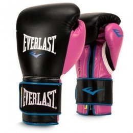 Перчатки боксерские Everlast PowerLock PU - Black/Pink