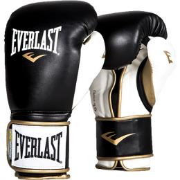 Перчатки боксерские Everlast PowerLock PU - Black/White/Gold
