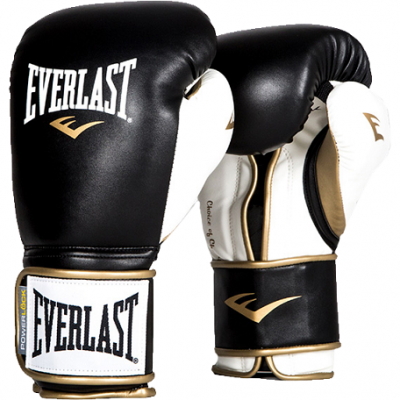 Перчатки боксерские Everlast PowerLock PU - Black/White/Gold