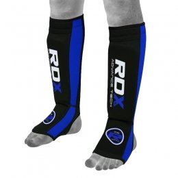 Защита голени RDX Neoprene Gel Shin Instep Pads MMA Leg Foot Guards - Blue